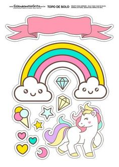- Oh My Fiesta! in english Unicorn Cupcakes Toppers, Unicorn Cake Topper, Cake Toppers, Unicorn Printables, Free Printables, Theme Mickey, Pony Cake, Little Poney, Unicorn Stickers