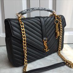 Ysl Saint Laurent college bag large size black gold Ysl College, College Bags, Ysl Bag, Chanel Boy Bag, Saint Laurent College Bag, Large Bags, Black Gold, Purses And Bags, Shoulder Bag