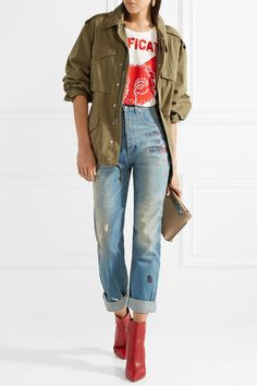 Gucci | Embroidered distressed high-rise straight-leg jeans | NET-A-PORTER.COM