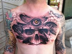 chest piece | ... Tattoo Gathering : Tattoos : Ryan Needles : Skull Chest Piece Tattoo