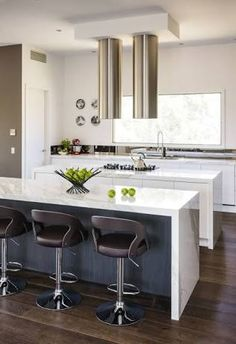 Kitchen Design Ideas Island Bench long island bench, two tone kitchen, timber floor | kitchen