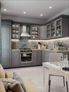 86 creative grey kitchen cabinet ideas for your kitchen 39 Modern Kitchen Cabinets Cabinet Creative Grey Ideas Kitchen Grey Kitchen Designs, Kitchen Room Design, Kitchen Cabinet Design, Home Decor Kitchen, Interior Design Kitchen, Home Design, Kitchen Furniture, Kitchen Ideas, Design Ideas