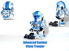 Custom Minifigure of the Week - Advanced Combat Clone Trooper Lego Custom Minifigures, Lego Minifigs, Star Wars Minifigures, Star Wars Clone Wars, Lego Star Wars, Star Wars Origami, Lego Clones, Lego People, Lego Military