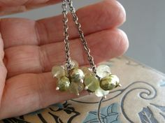mossy green prehnite earrings in sterling silver by archaicdesign, $60.00