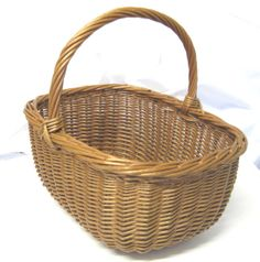 Vintage Woven Wicker Basket, Rustic,Traditional, Market, Shopping, Display, Prop, Storage