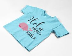 Hola Abuelos Abuela Abuelo Spanish Baby Whale Parents Grandparents – The Purple Pineapple Co Baby Shower Winter, Baby Winter, Different Colors Of Pink, Cute Baby Couple, Black Baby Girls, Baby Whale, Baby Dinosaurs, Cute Baby Clothes, Baby Halloween