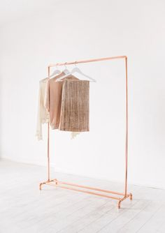 Copper Pipe Clothing Rail / Garment Rack / Clothes Storage | The Little Deer