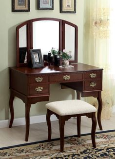 Furniture of America Grand Amelia Vanity Set with Stool, Red