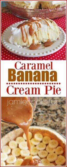 Caramel Banana Cream Pie from Jamie Cooks It Up!