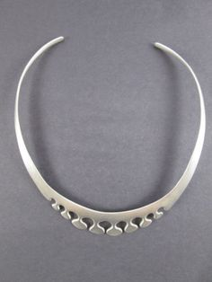 Vintage-Sterling-Silver-925-Modernist-Collar-Necklace-Mexico-Taxco-Signed-JDC