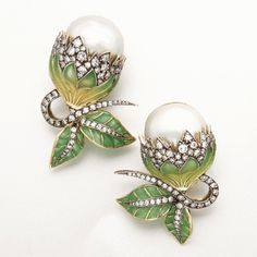 Plique-à-jour enamel and diamond earrings