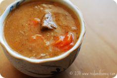 Amazing Irish Beef Stew (stewing beef, bone groth, tomato paste, honey, thyme, worcestershire, bay, potatoes, onion, carrots)