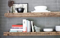 reclaimed wood beams - above small wet bar Reclaimed Wood Shelves, Wood, Kitchen Projects, Condo Kitchen, Rustic Fireplace Mantle, Shelves, Home Decor, Wood Beams, Wooden Kitchen