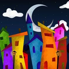 Picture of fantasy landscape with colorful houses at night stock photo, images and stock photography. Art Challenge, Seascape Art, Art Drawings For Kids, Modern Art Paintings, Painting Gallery, Naive Art, Whimsical Art, Elementary Art, Fabric Painting