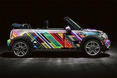Designer Graffiti Cars: Matt W. Moore Creates a Bright and Colorful Mini Cooper Weird Cars, Cool Cars, Crazy Cars, Jaguar, Minis, Car Paint Jobs, Mini Cooper Convertible, Mini Cooper S, Cooper Car