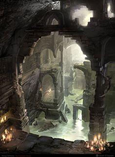 ArtStation - Prince of persia forgotten sands - the Catacombs, Herve Groussin aka Nuro Fantasy Places, Fantasy World, Dark Fantasy, Environment Concept Art, Environment Design, The Catacombs, Dungeon Maps, Dark City, Prince Of Persia
