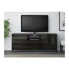 "BESTÅ TV unit with drawers - black-brown/Selsviken high gloss/black smoked glass, drawer runner, soft-closing, 70 7/8x15 3/4x29 1/8 "" - IKEA"