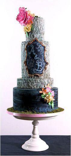 Rustic Chalk alternative wedding cake | by Cakes by Beth www.cakesbybeth.co.uk