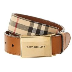 Burberry Burberry Horseferry Check & Leather Belt ($237) ❤ liked on Polyvore featuring men's fashion, men's accessories, men's belts, khaki and burberry mens belt