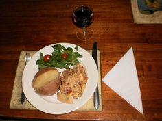 Gepofte aardappel met champignonpastei