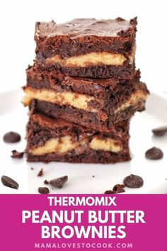 You know what's even better than chocolate brownies? Chocolate and peanut butter brownies! Seriously. These are amazing. This Thermomix Peanut Butter Brownies recipe makes insanely decadent gooey fudge brownies with a peanut butter layer. Delicious! #thermomixrecipes #recipesforbaking #dessertrecipes