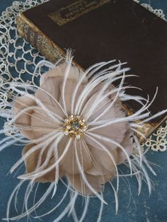 Feather Flower with Vintage Gold Rhinestones Bridal by LoBoheme, $108.00