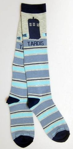 BUT MRS PUFF NEEDS THIS!!  Doctor Who Knee Tardis Stripe Knee High Socks $15.99 (save $14.00) + Free Shipping