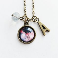 Personalized Antique Bronze Initial/Letter/Alphabet Charm/ Midnight Pink Cosmic Galaxy Pendant Necklace