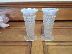 Vintage White Opalescent Hobnail Vases Pair Wedding Anniversary Gift Display by ALONGWAYBACK on Etsy