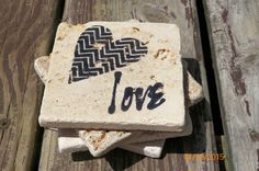 Contemporary Heart~ Love Black Stamped Travertine Tile Coaster Set by TrendyTrioDesigns on Etsy