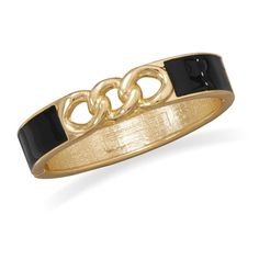 Gold Tone Link Fashion Bangle Bracelet with Black Enamel