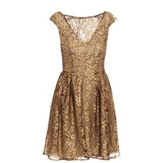 Issa Gold lace dress ($490) ❤ liked on Polyvore featuring dresses, vestidos, short dresses, robes, slimming cocktail dresses, short lace dress, gold mini dress and brown cocktail dress