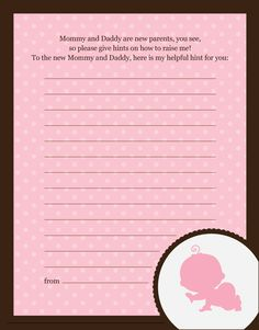 Crawling Baby Girl - Baby Shower Notes of Advice