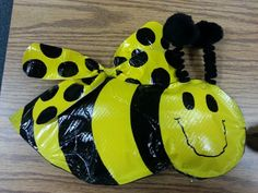 Bumble Bees that I made from Duct Tape for a Bumble Bee Classroom Bulletin Board