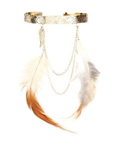Gold Textured Feather Arm Cuff  | New Look