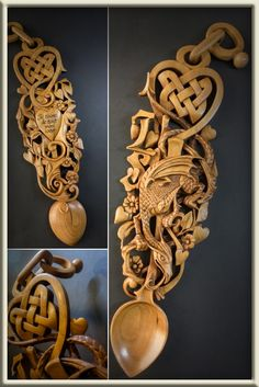 Woodcrafts and Graphics Wooden Spoon Carving, Carved Spoons, Wood Spoon, Celtic Images, Welsh Love Spoons, Wooden Words, Wood Carving Designs, Chip Carving, Celtic Art