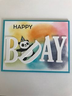 Happy Birthday Card Diy, Homemade Birthday Cards, Birthday Card Design, Homemade Cards, Alphabet Cards, Children Birthday Cards, Bday Cards, Stamping Up Cards, Animal Cards