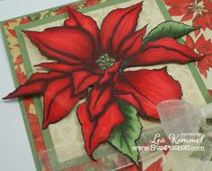 (th)INK Positive: Blooming Christmas - Incredible new poinsettia stamp from Stampendous and Lea Kimmel