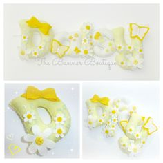 Sew your own felt Daisy felt name banner kit PER LETTER (excl stuffing) - The Supermums Craft Fair Baby Name Banners, Felt Name Banner, Name Bunting, Felt Letters, Felt Crafts Diy, Felt Diy, Homemade Crafts, Baby Crafts, Craft Gifts