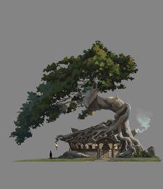 ArtStation – Daily sketch, Shin jong hun – Art Drawing Tips Concept Art Landscape, Fantasy Concept Art, Fantasy Landscape, Landscape Art, Fantasy Art, Fantasy Trees, Environment Concept, Environment Design, Fantasy Places