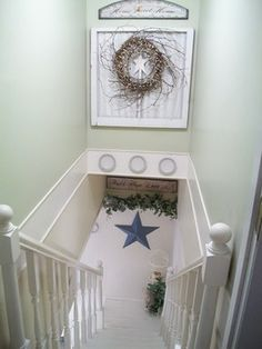 great use for dead space over the stairway.  I love this idea- sooo want to do in the new home.