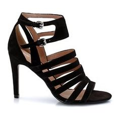 Leather Sandals with Ankle Strap and Metal Buckle Fastening
