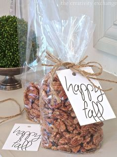 Easy sugared pecans made three ways (sugared, cinnamon and spicy).  Printable gift tag too for fall homemade goodies.  The Creativity Exchange