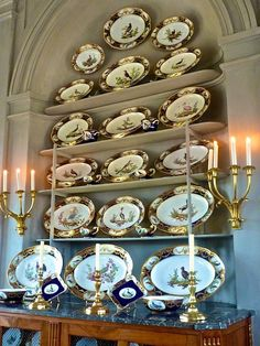 Sevres dinner service at Château du Champ de Bataille, Normandy, France THE birds!