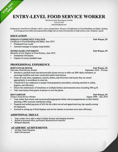 Food Server Resume Pinkerry C On Applying For Jobs  Pinterest
