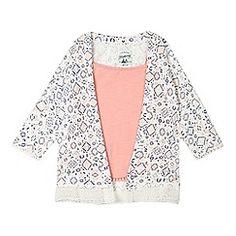 Mantaray - Girls' cream ditsy diamond kimono and pink vest top set