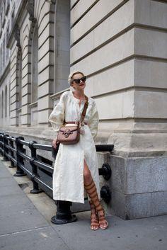Vintage dress, gladiator sandals and Gucci bag