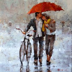 Amoureux 24 x 24 limited edition print available at andre kohn fine art gallery www andrekohnfineart com Figure Painting, Painting & Drawing, Rain Art, Umbrella Art, Couple Art, Fine Art Gallery, Beautiful Paintings, Romantic Paintings, Love Art