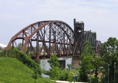Abandoned Railroad Bridge crossing the Arkansas River into Little Rock.  The bridge is being converted into a pedestrian walkway bridge.