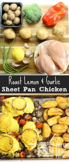 Healthy sheet pan suppers are ideal for busy families looking to do less cooking and cleaning, while enjoying a full fledged meal. This garlic & lemon roasted chicken with sides, will feed a hungry family, without having to stand in front of the stove or do a lot of clean up. via @earthfoodandfire